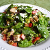 Spinach Chicken Salad with Vegetables and Goat Cheese