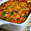 Egg and Sausage Breakfast Casserole with Spinach and Tomatoes - aka My Mom's Egg Bake