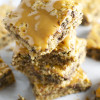 Chocolate Chip Oatmeal Blondies with Coconut and Caramel Drizzle