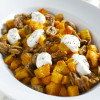 Roasted Butternut Squash with Candied Pecans and Ricotta