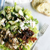 Salad with Chicken, Sun Dried Tomatoes, Goat Cheese, Cucumbers, and Pine Nuts