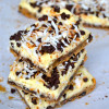 Chocolate Chip Cookie Cheesecake Bars with Toasted Coconut