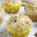 Peanut Butter Chocolate Chip Banana Muffins with Walnuts