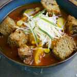 Rosemary Vegetable Soup with Parmesan Croutons