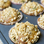 Brown Sugar Raisin Muffins with Pumpkin Granola Crumble