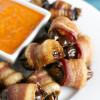 Bacon Wrapped Dates with Roasted Red Pepper Dipping Sauce