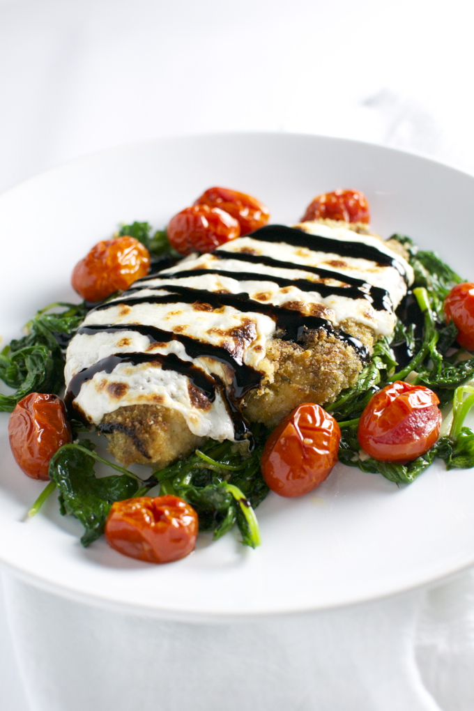 Pesto Chicken with Spinach, Tomatoes, and Balsamic Glaze