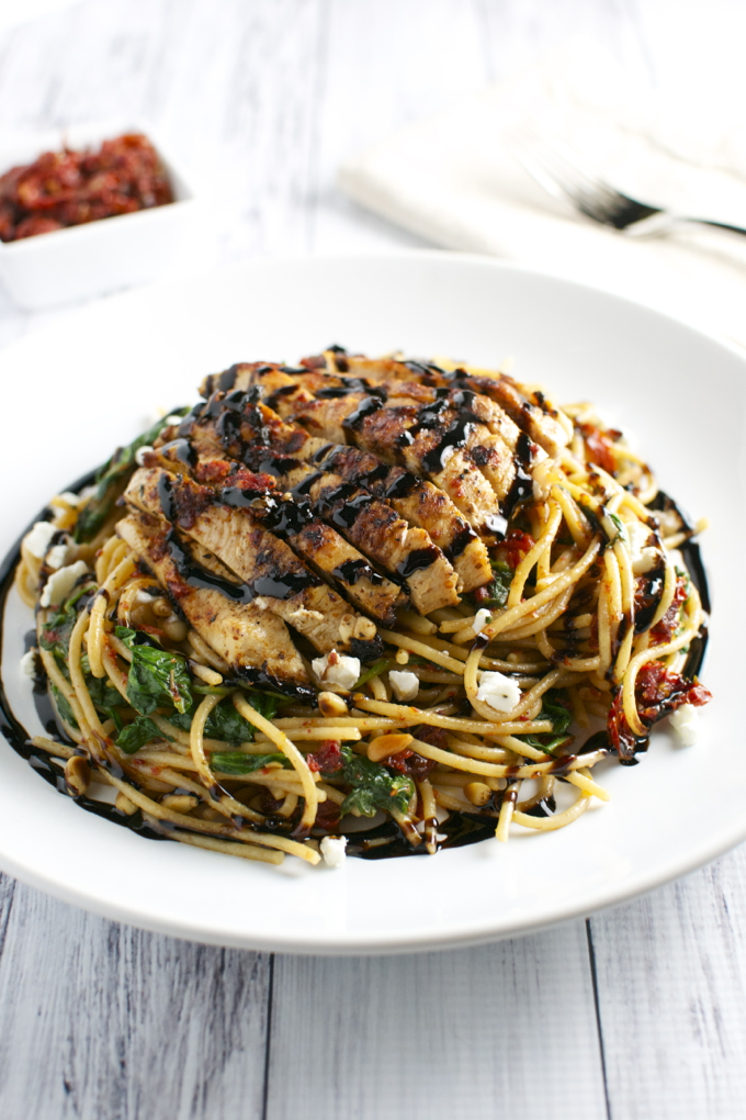 Sun Dried Tomato Pasta with Chicken, Spinach and Goat Cheese