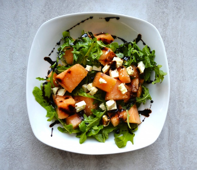 Arugula, Cantaloupe, and Feta Salad with Balsamic Glaze