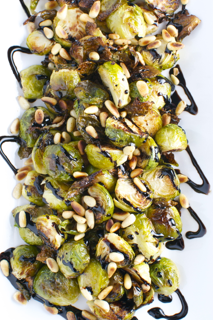 Roasted Brussels Sprouts with Toasted Pine Nuts and Balsamic Glaze ...
