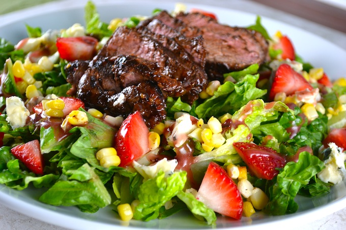 Steak Salad with Roasted Corn, Strawberries, and Blue Cheese - Stuck ...