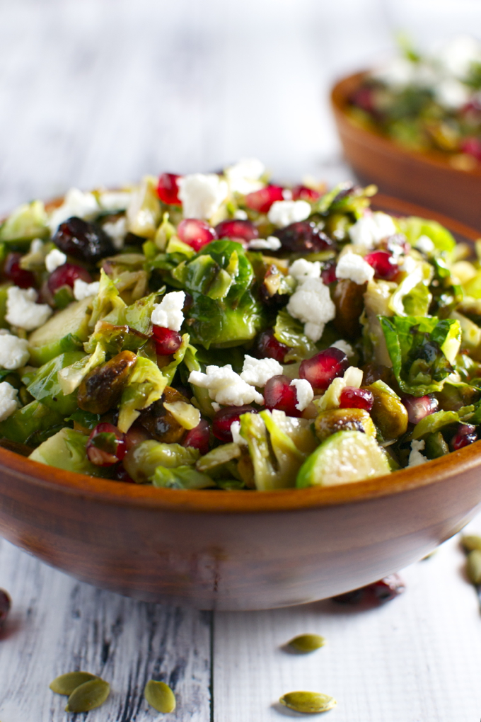 Brussels Sprout Salad with Maple Vinaigrette - Stuck On Sweet