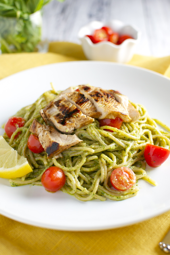 Basil and Goat Cheese Pesto Pasta with Tomatoes and Chicken - Stuck On ...