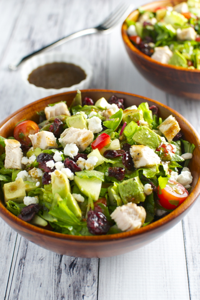 Italian Chicken Salad With Vegetables Cranberries And Goat Cheese