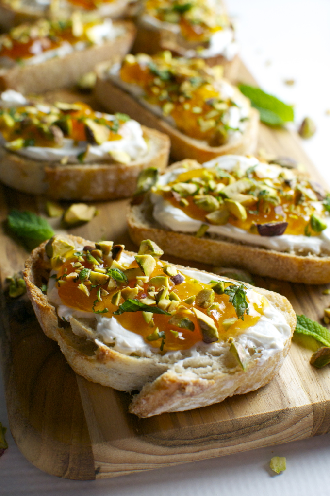 Goat Cheese And Apricot Crostini With Pistachios And Mint Stuck On Sweet
