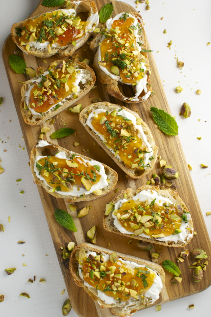 Goat Cheese and Apricot Crostini with Pistachios and Mint - Stuck On ...