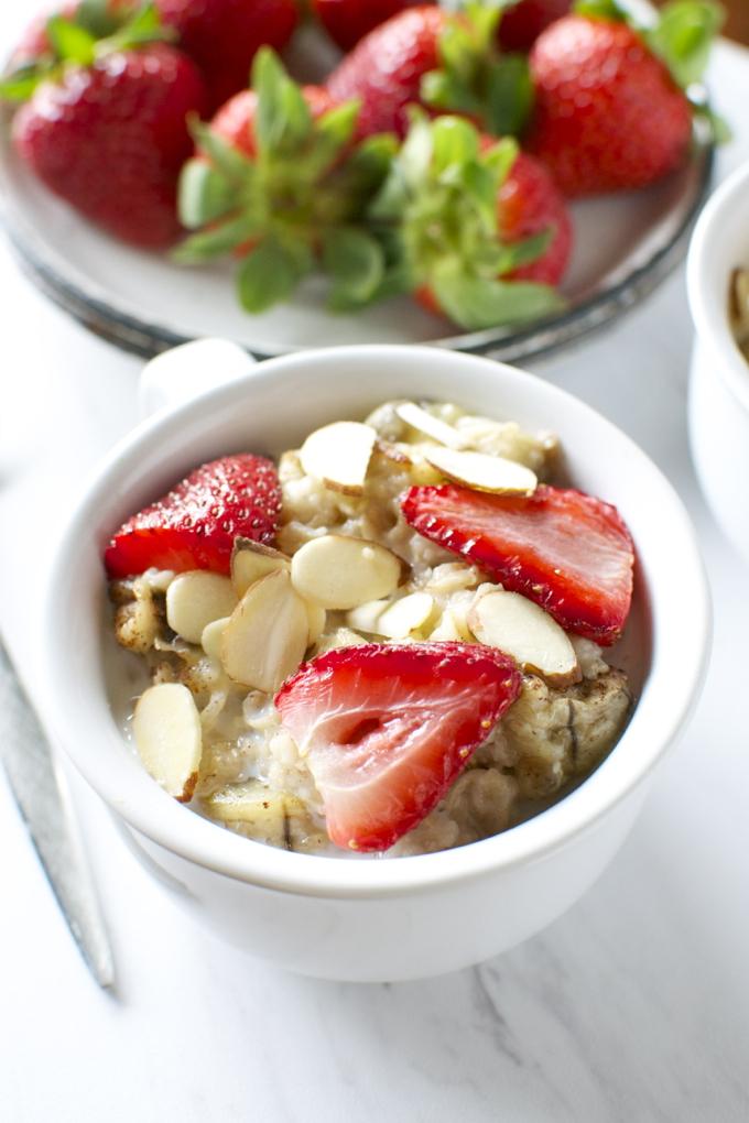 Roasted Strawberry Banana Oatmeal With Almonds Stuck On